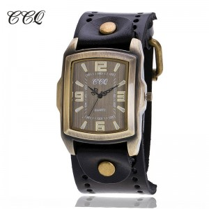 CCQ retro cow leather bracelet watch- ceas de barbati